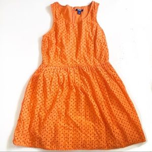 Old Navy Fit and Flare Cotton Orange Eyelet Dress